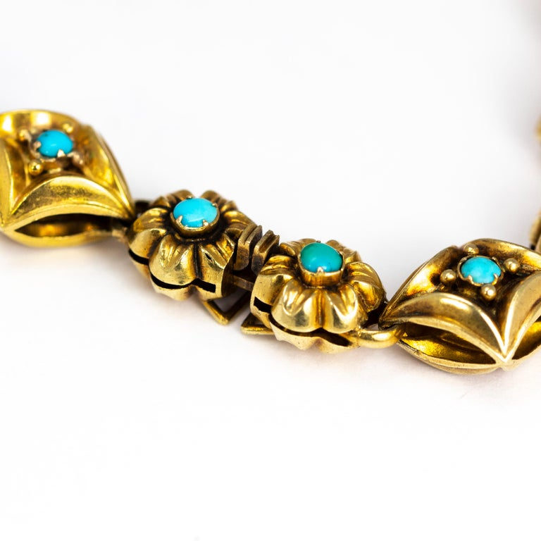 Victorian Turquoise and 9 Carat Gold Ornate Bracelet or Necklace In Excellent Condition For Sale In Chipping Campden, GB