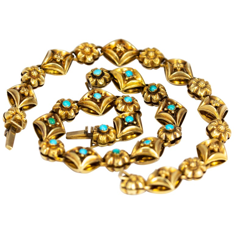 Victorian Turquoise and 9 Carat Gold Ornate Bracelet or Necklace For Sale