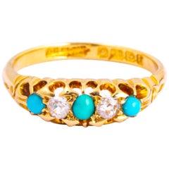 Victorian Turquoise and Diamond 18 Carat Gold Three-Stone Ring