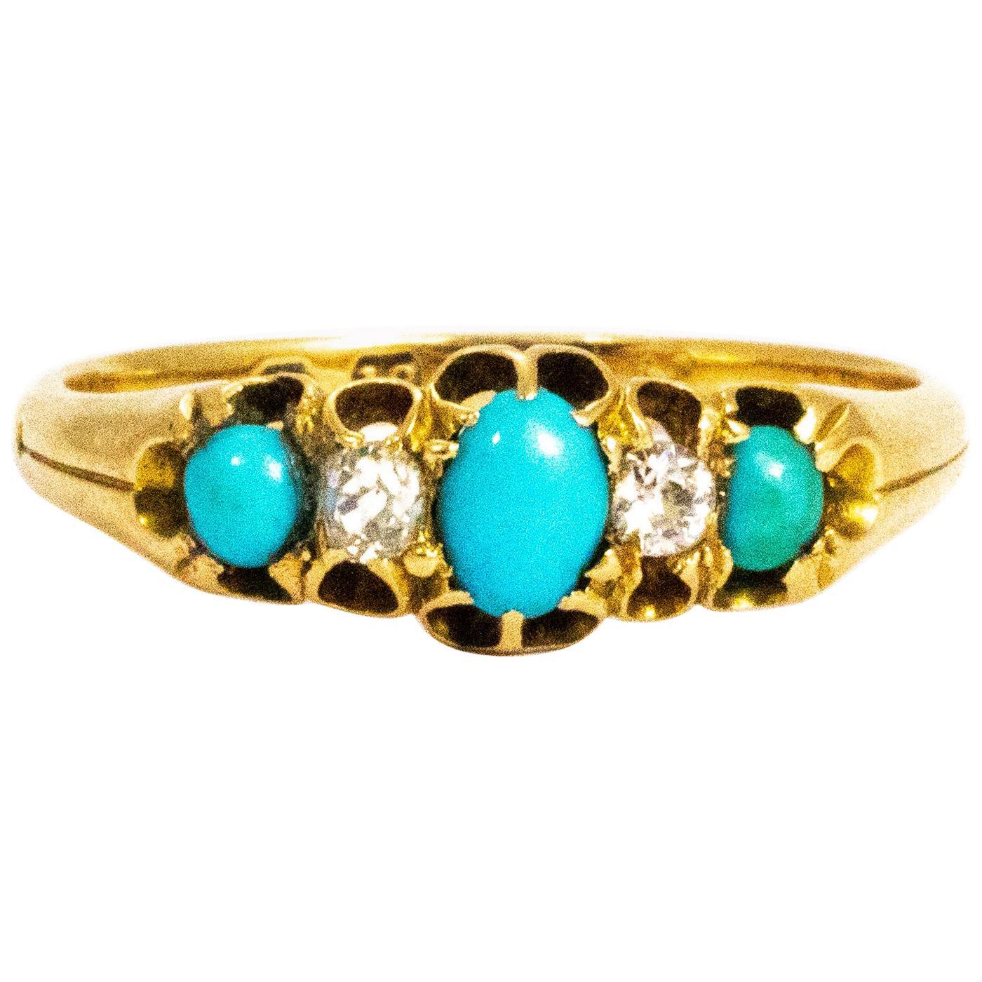 Victorian Turquoise and Diamond 18 Carat Three-Stone Ring
