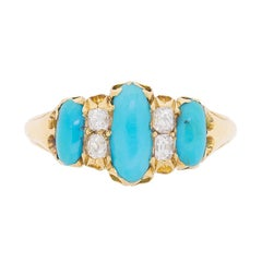Victorian Turquoise and Diamond Cluster Ring, circa 1880s