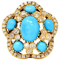 Victorian Turquoise and Diamond Convertible Brooch