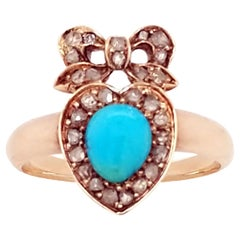 Victorian Turquoise and Diamond Heart and Bow Ring in Rose Gold