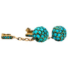 Victorian Turquoise and Gold Orb Earrings