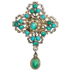Victorian Turquoise and Natural Pearl Brooch