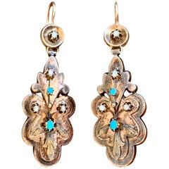 Victorian Turquoise and Pearl 14 Karat Yellow Gold Drop Earrings