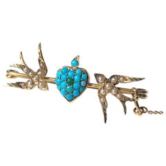 Victorian Turquoise and Pearl 15 Carat Gold Love Bird Brooch