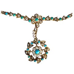 Victorian Turquoise and Pearl 15 Carat Gold Necklace and Pendant