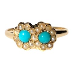 Victorian Turquoise and Pearl 18 Carat Gold Double Cluster Ring
