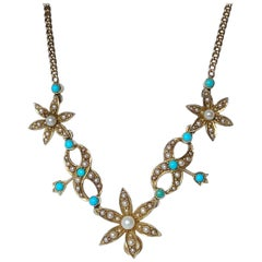 Victorian Turquoise and Pearl 18 Carat Gold Necklace and Pendant