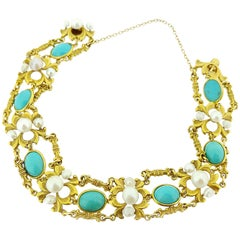 Victorian Turquoise and Pearl Yellow Gold Bracelet