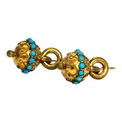 Victorian Turquoise and Pinchbeck Drop Earrings