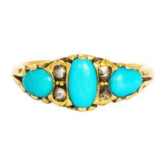 Victorian Turquoise and Rose Cut Diamond 18 Carat Gold Ring
