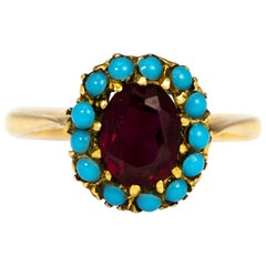 Victorian Turquoise and Ruby 9 Carat Gold Cluster Ring