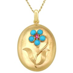 Victorian Turquoise and Ruby Yellow Gold Locket