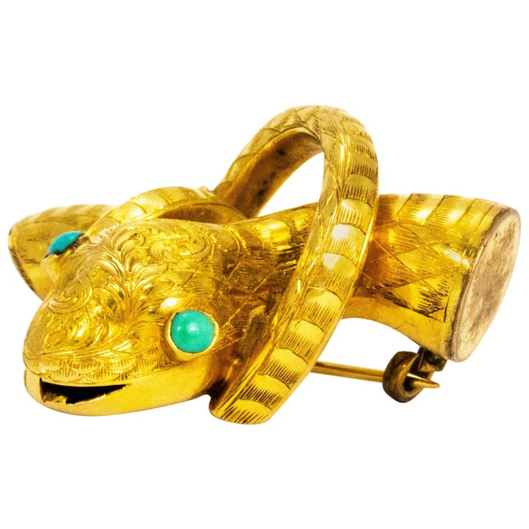 Victorian Turquoise and Yellow Metal Snake Brooch For Sale
