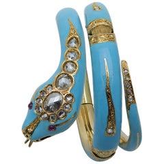 Victorian Turquoise Blue Enamel, Gold, Diamond and Ruby Snake Bracelet
