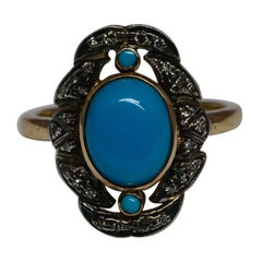 Victorian Turquoise Cabochon And Diamond Ring Silver 18 Karat Gold