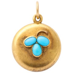 Victorian Turquoise Clover Locket