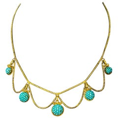 Victorian Turquoise Cluster 18 Carat Gold Necklace