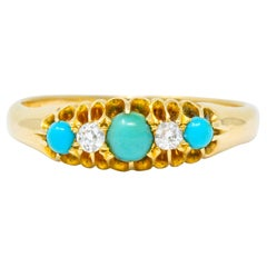 Victorian Turquoise Diamond 18 Karat Gold Band Ring