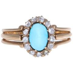 Victorian Turquoise Diamond 18 Karat Gold Cluster Ring