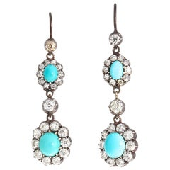 Victorian Turquoise Diamond Gold Silver Cluster Drop Earrings
