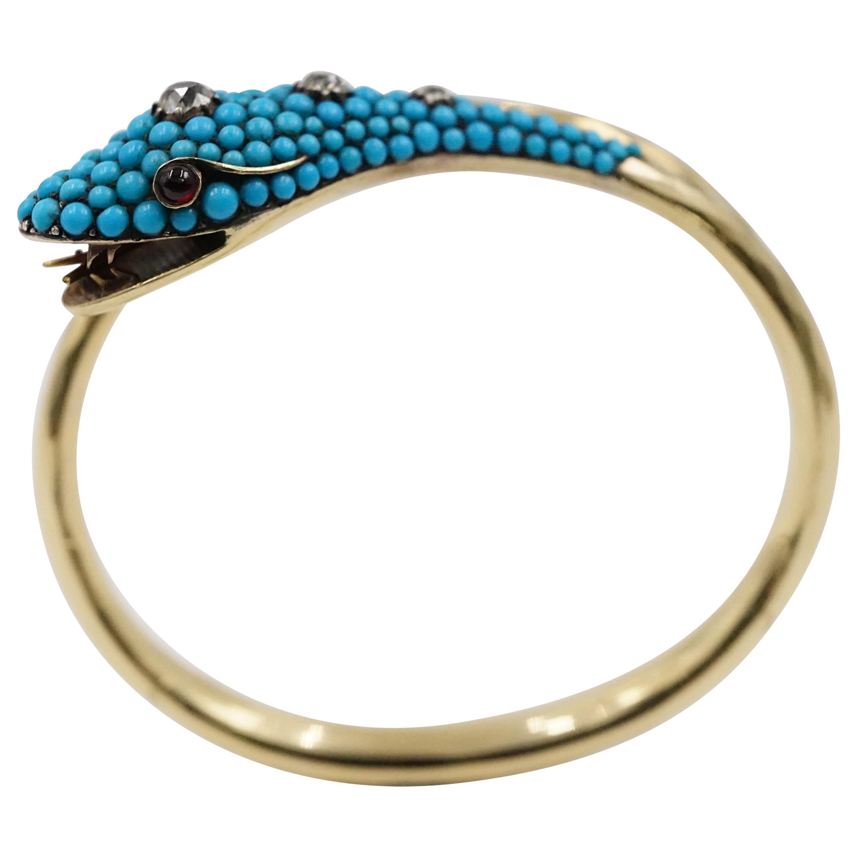 Victorian Turquoise, Diamond, Ruby and Diamond Cut Gold Snake Bangle