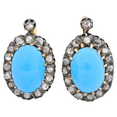 Victorian Turquoise Diamond Silver-Topped 14 Karat Gold Cluster Earrings
