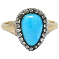 Victorian Turquoise Diamond Silver-Topped 14 Karat Gold Ring