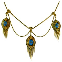 Victorian Turquoise Diamond Yellow Gold Necklace, 1900s