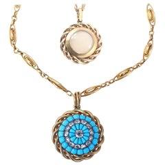 Victorian Turquoise Diamonds Gold Pendant Chain, 1900
