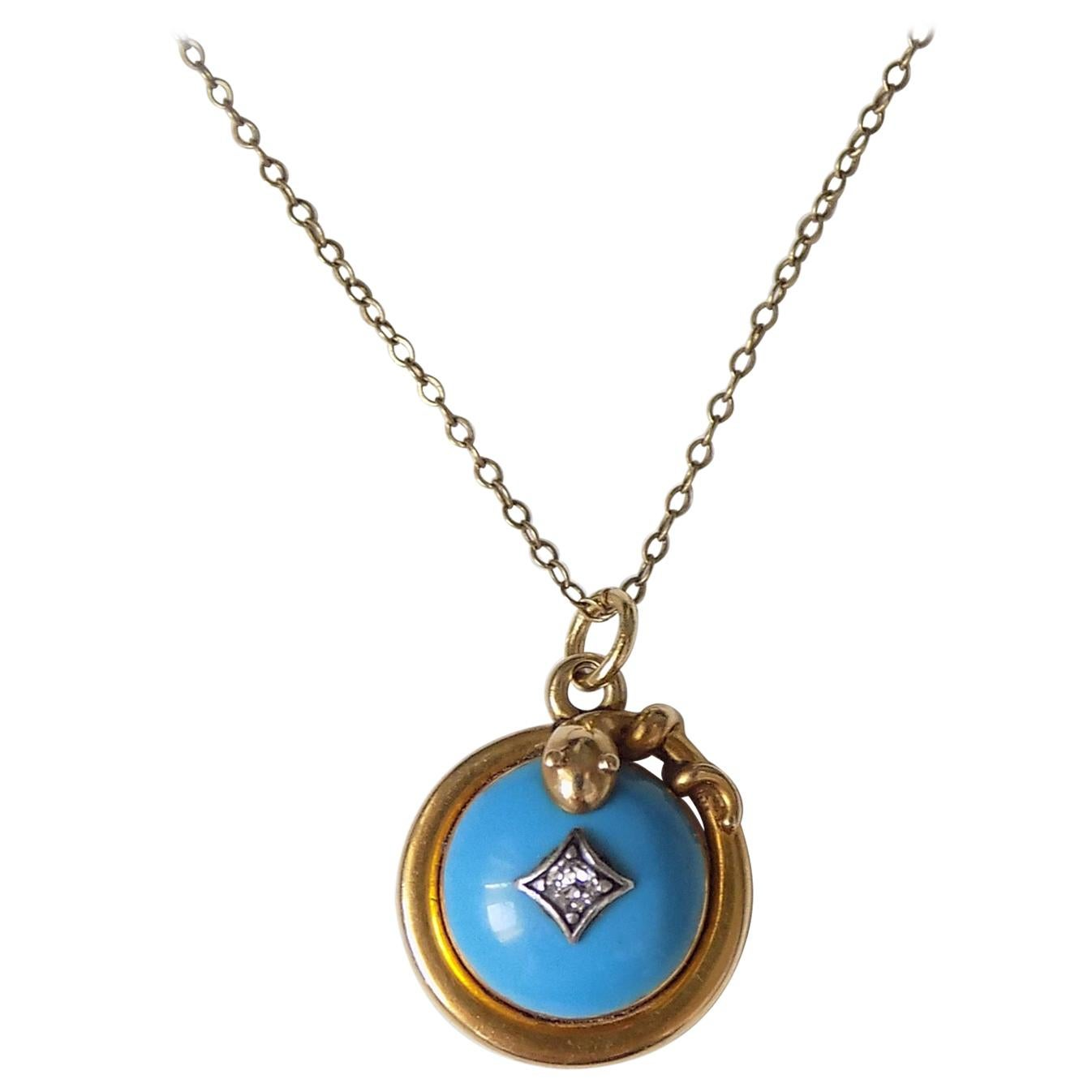 Victorian Turquoise Enamel Diamond Serpent Snake Locket Pendant Necklace