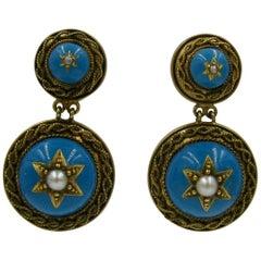Victorian Turquoise Enamel Earrings Etruscan Revival Pearl 14 Karat Gold