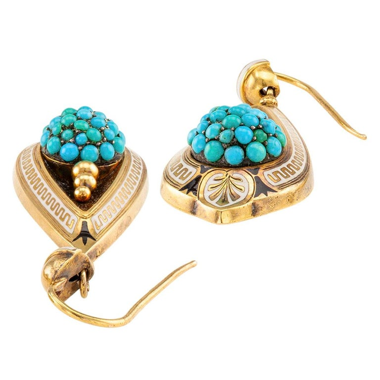Round Cut Victorian Turquoise Gold and Enamel Drop Earrings For Sale