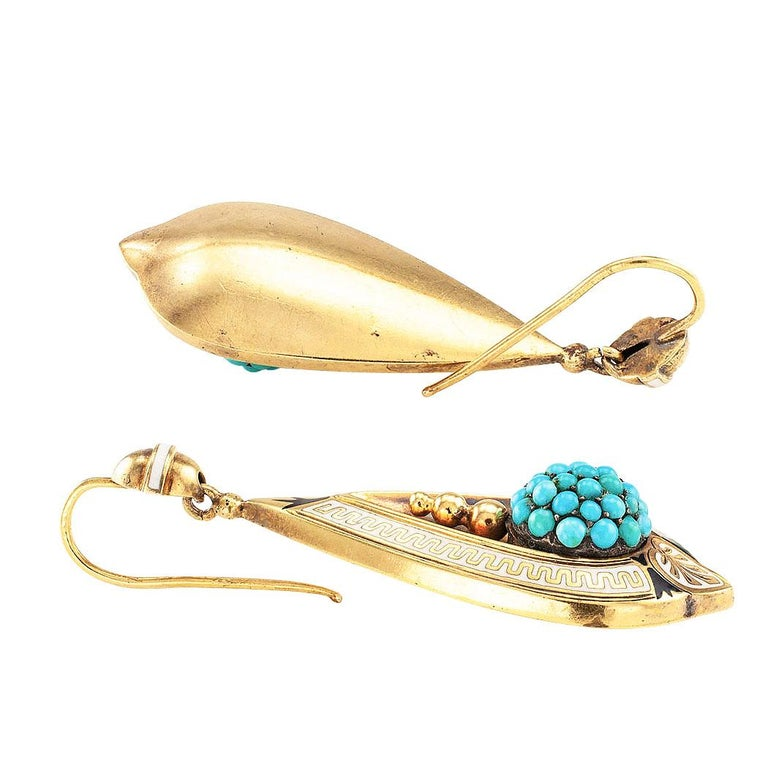 Victorian Turquoise Gold and Enamel Drop Earrings In Good Condition For Sale In Los Angeles, CA
