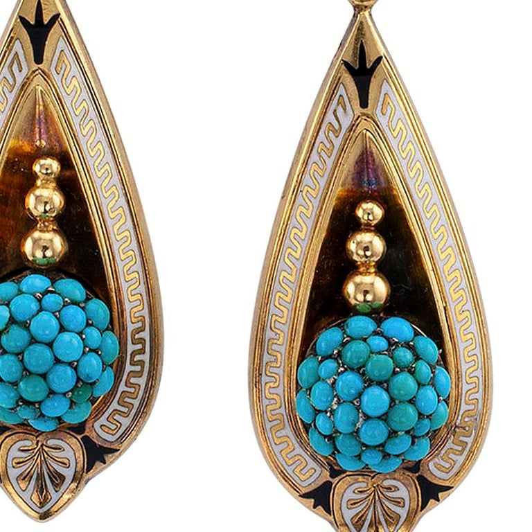 Women's Victorian Turquoise Gold and Enamel Drop Earrings For Sale