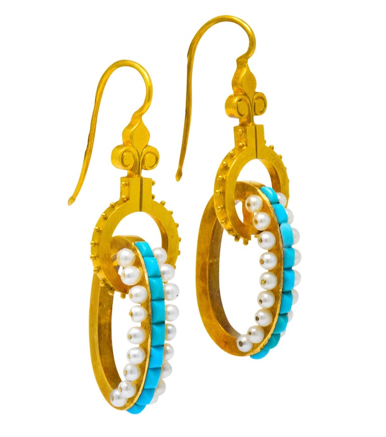 Women's or Men's Victorian Turquoise Pearl 18 Karat Gold French Articulated Drop Earrings For Sale