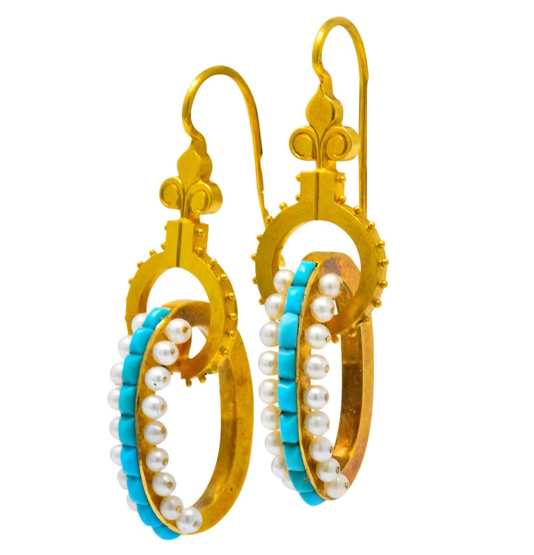 Victorian Turquoise Pearl 18 Karat Gold French Articulated Drop Earrings For Sale 1