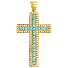 Victorian Turquoise, Pearl and Yellow Gold Cross Pendant