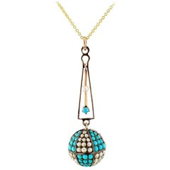 Victorian Turquoise Pearl Gold Silver Pendant Necklace