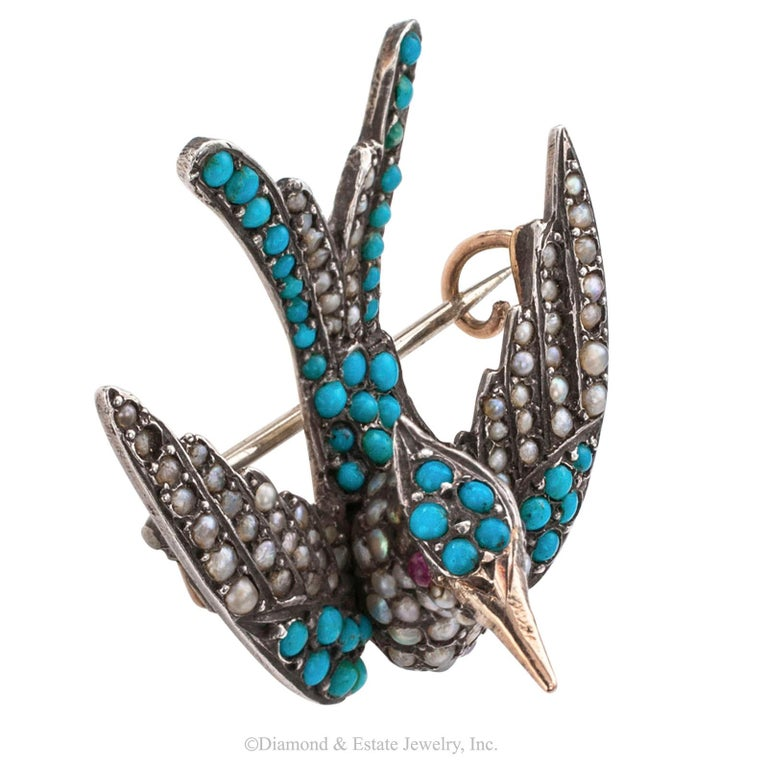 Victorian Turquoise Pearl Ruby Silver Gold Phoenix Bird Brooch In Good Condition For Sale In Los Angeles, CA