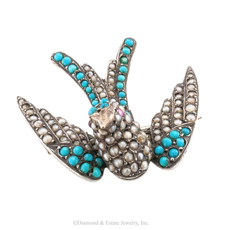 Women's or Men's Victorian Turquoise Pearl Ruby Silver Gold Phoenix Bird Brooch For Sale
