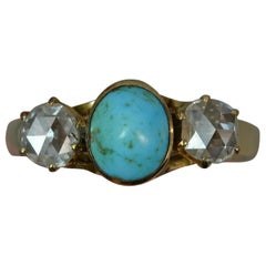 Victorian Turquoise Rose Cut Diamond 14 Carat Gold Trilogy Ring