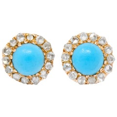 Victorian Turquoise Rose Cut Diamond 18 Karat Gold Cluster Earrings