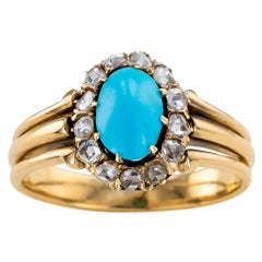 Victorian Turquoise Rose Cut Diamonds Yellow Gold Ring