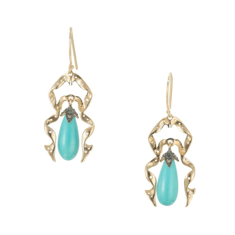 Round Cut Victorian Turquoise Round Diamond Gold Dangle Earrings For Sale