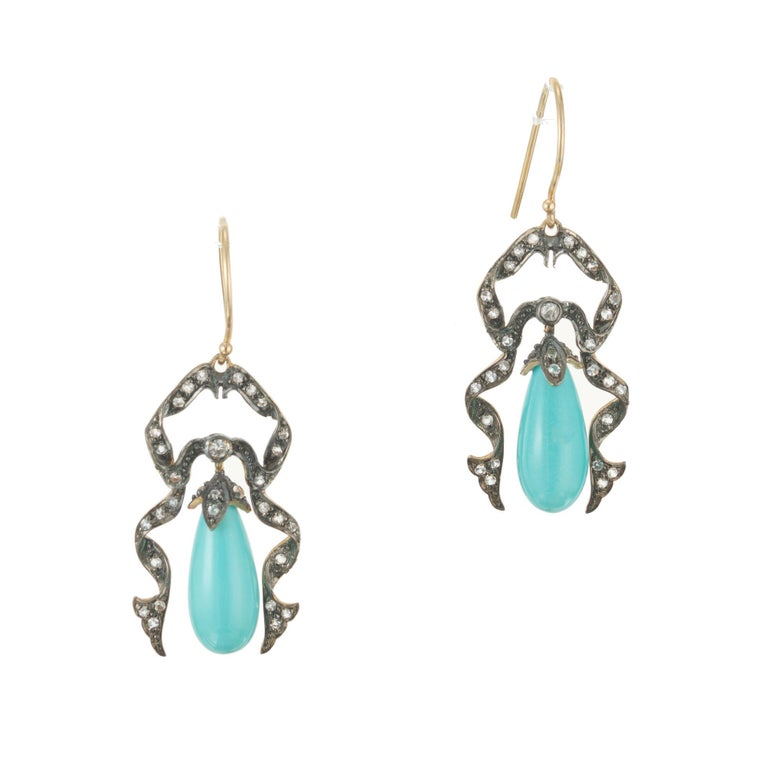 Women's Victorian Turquoise Round Diamond Gold Dangle Earrings For Sale