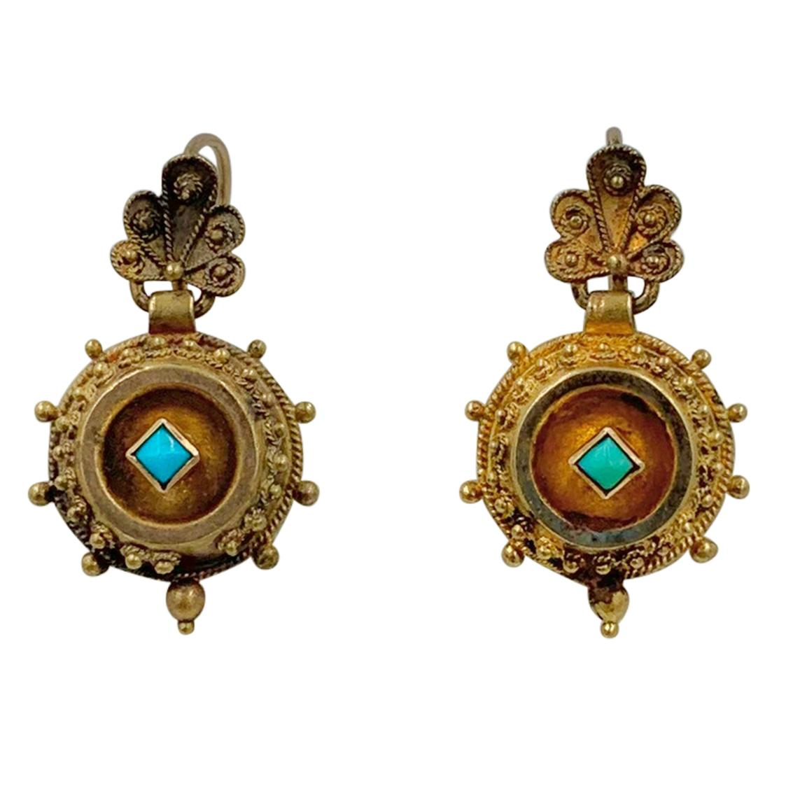 Victorian Turquoise Shell Dangle Drop Earrings Etruscan Revival 14 Karat Gold
