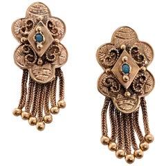 Victorian Turquoise Tassel Drop Earrings 14 Karat Yellow Gold